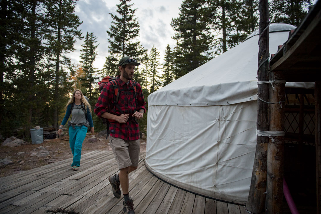 Arriving at the White Pine Touring Uinta Mountains Yurt
