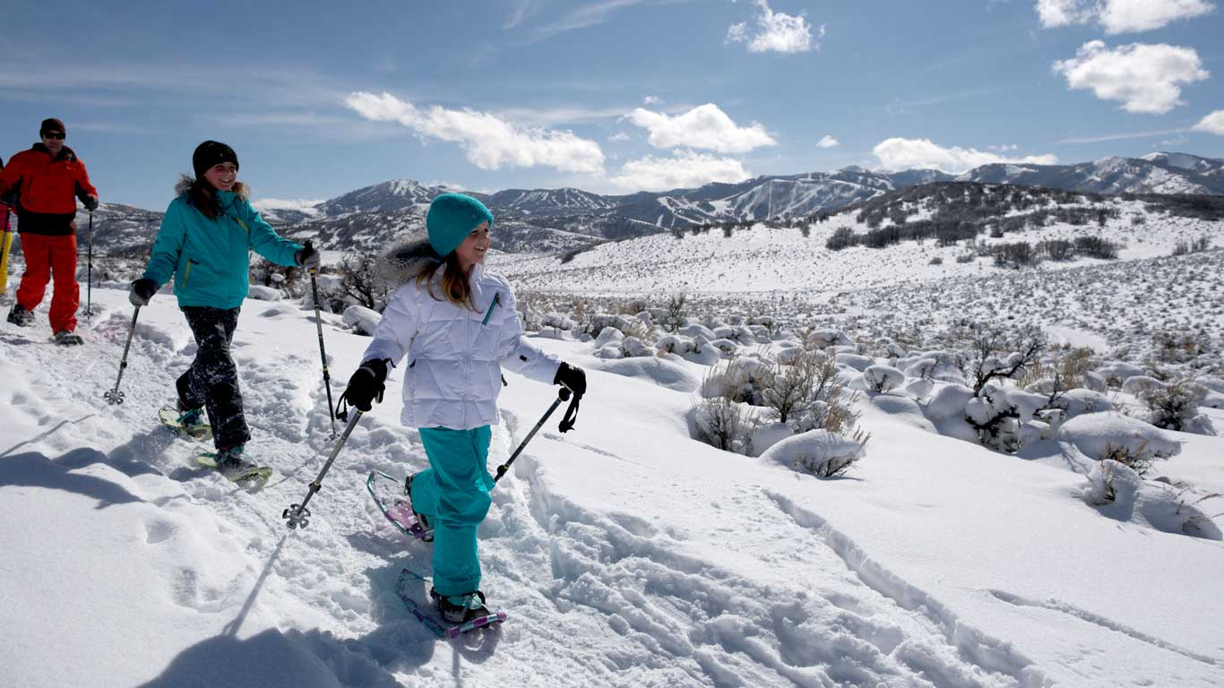 Family snowshoeing in Park City, Utah