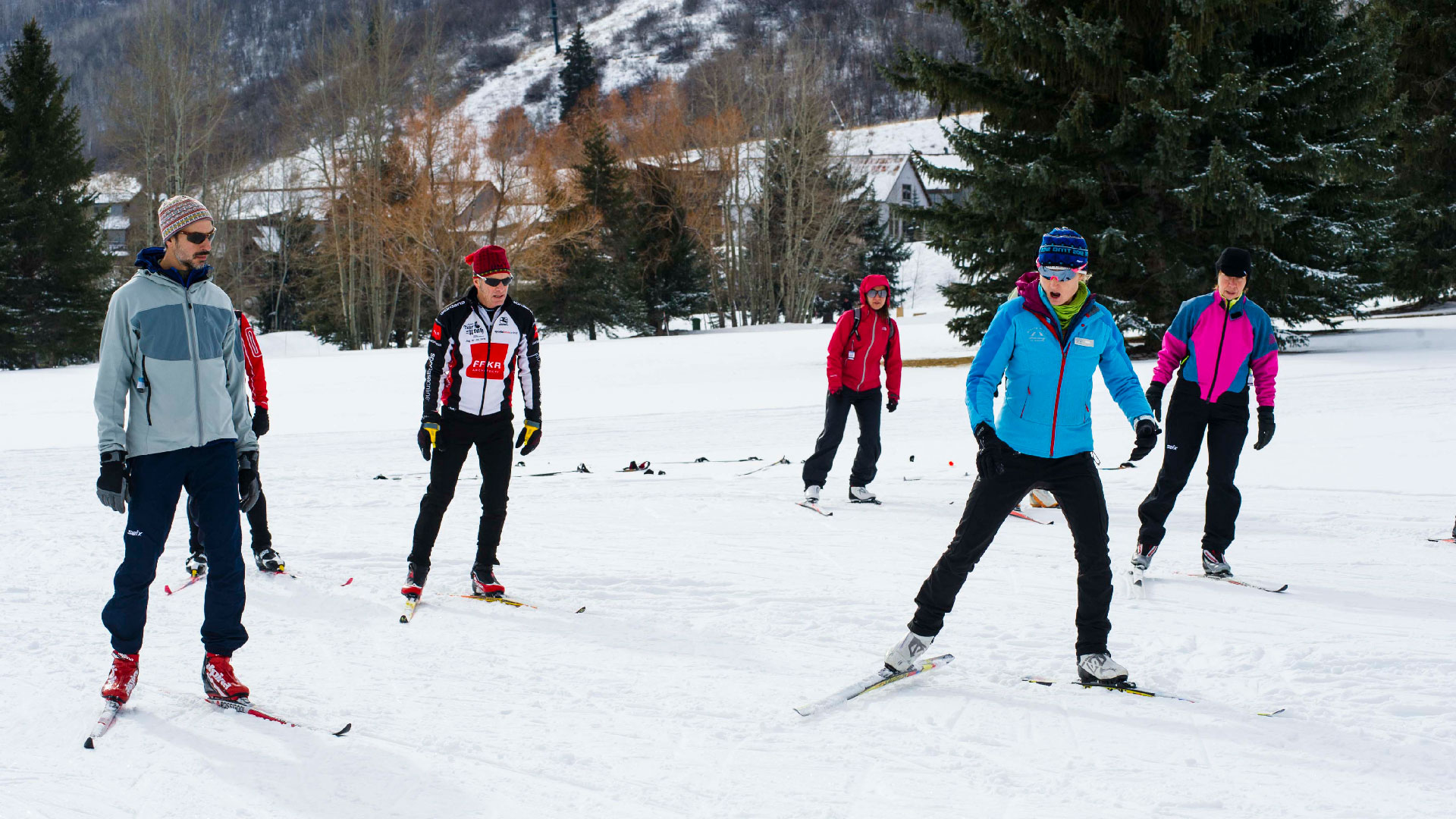 Group Skate Cross Country Lesson from White Pine Touring in Park City, UT.
