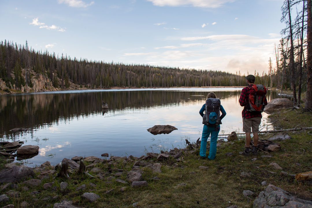 Hiking to a nearby lake at the White Pine Touring Uinta Mountains Yurt