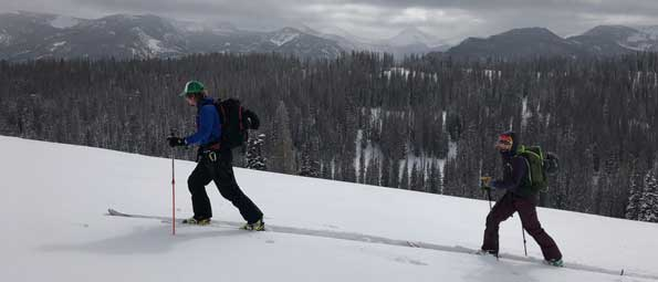 Two skiers skinning in the Uinta Mountains backcountry