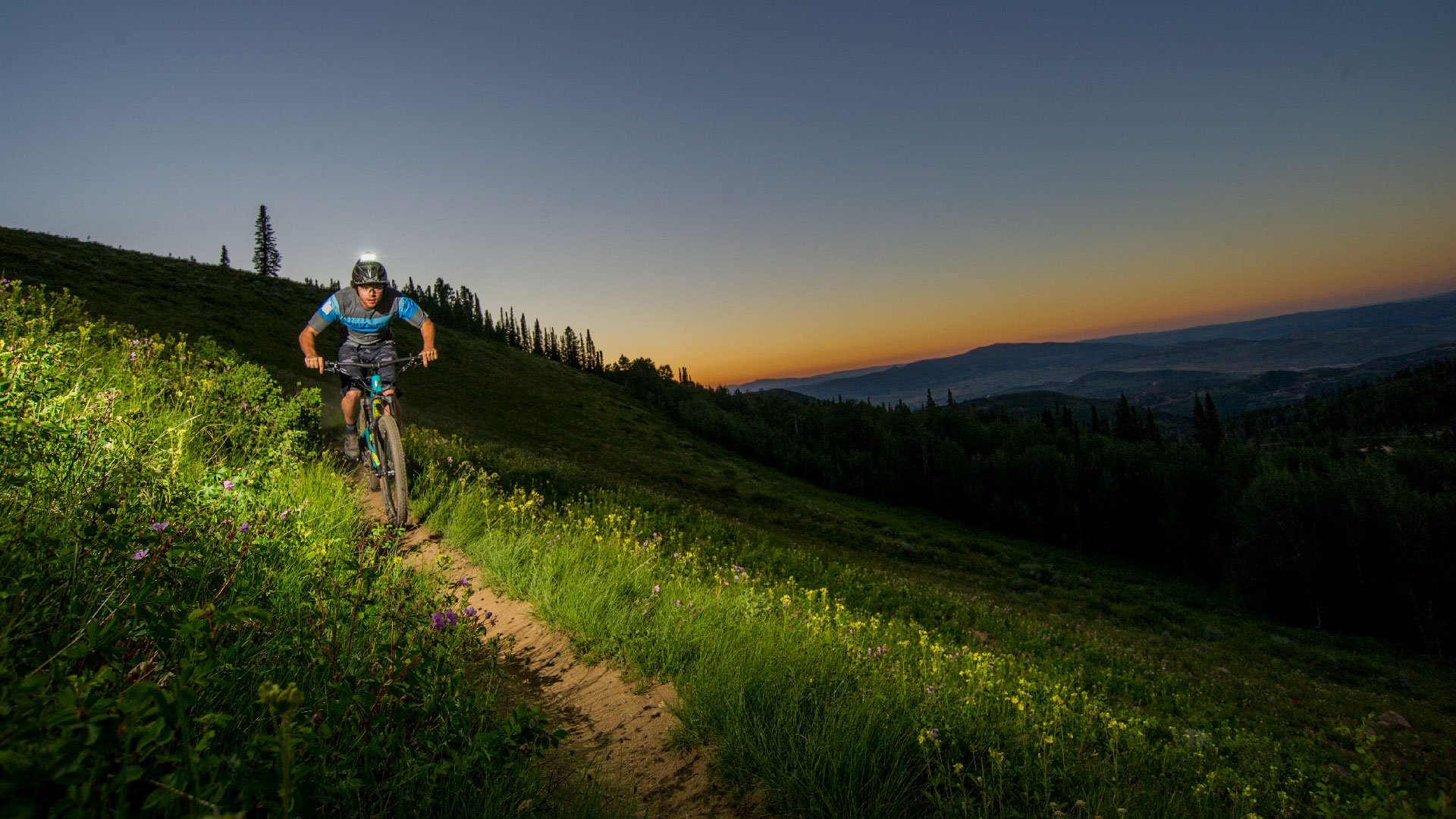 Guided Night Riding Mountain Bike Tour from White Pine Touring in Park City, UT.