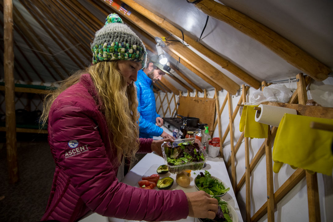 Preparing Dinner in the White Pine Touring Uinta Mountains Yurt